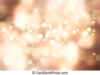 Gold Christmas background with bokeh lights and stars