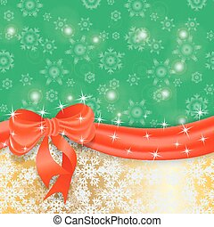 Gold Christmas background with ribbon and bow.
