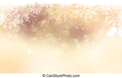 Gold Christmas background with snowflakes and bokeh lights