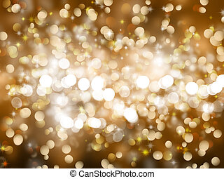 Gold Christmas background with sparkles and stars