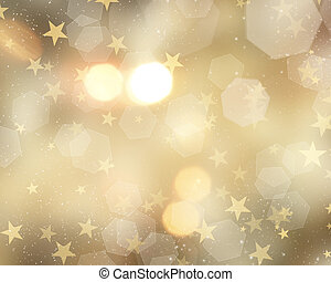 Gold Christmas background with stars and bokeh lights