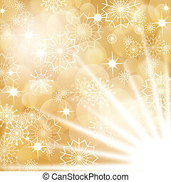 Gold christmas background with white snowflakes and fireworks, EPS10