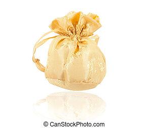 Gold christmas bag with present