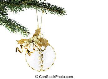 Gold Christmas Ball on fir tree