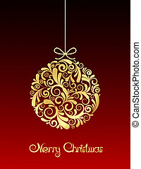 Gold Christmas ball on red background.