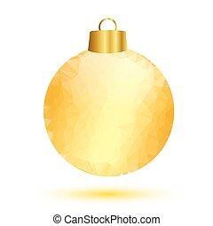 Gold christmas ball on white