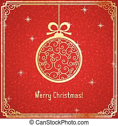 Gold Christmas ball with swirl pattern and shiny on red background.