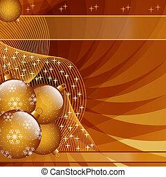 Gold christmas balls abstract