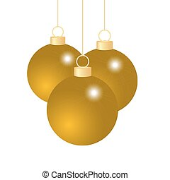 Gold Christmas balls on a white background