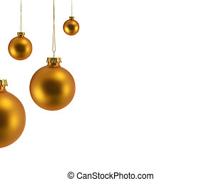 Gold Christmas Tree Balls isolated on white, all are in focus
