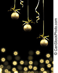 Gold Christmas balls on a black background