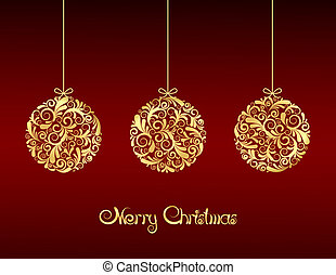 Gold Christmas balls on red background.