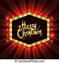 Gold Christmas banner with light bulbs.