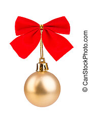 Gold Christmas bauble with red bow