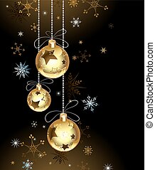 Gold Christmas baubles on a brown background with snowflakes