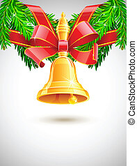 gold christmas bell with red ribbon on fir decor