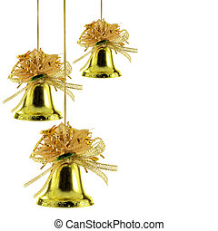 Christmas bells - Gold Christmas bells isolated over white...