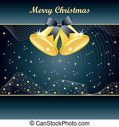 Gold christmas bells on Slate Blue