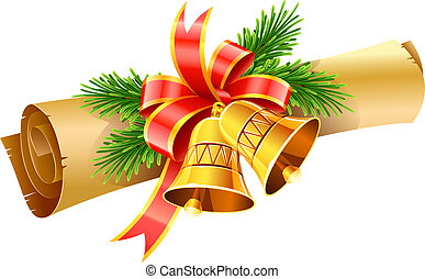 gold christmas bells with red bow and paper scroll vector...