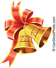 gold christmas bells with red bow vector illustration isolated on white background