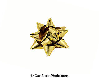 Gold Christmas bow isolated on white background, christmas deco