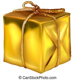 Gold Christmas Box - decoration object as illustration