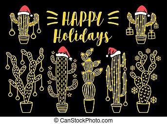 Gold Christmas cactus, vector set