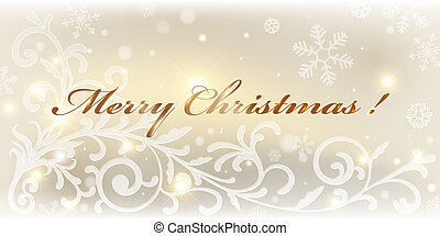 Gold christmas card. Colorful vector illustration.