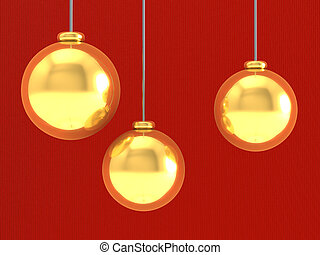Gold Christmas decoration on red background