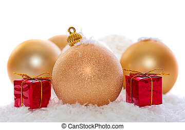 gold christmas decorations isolated
