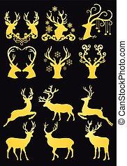 Gold Christmas deer heads, golden reindeer, vector set