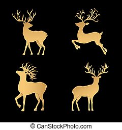 Gold Christmas deer silhouettes isolated on the black...