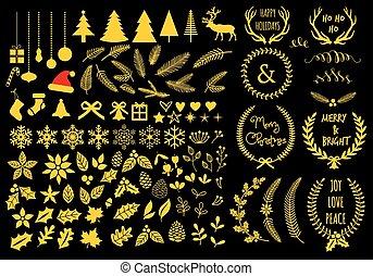 Gold Christmas design elements, vector set