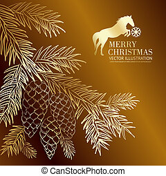 Gold  christmas fir and pinecone.. Vector illustration.