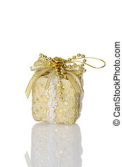 gold christmas gift ornament
