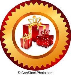 Gold christmas gifts button. Vector