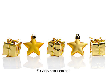 gold christmas - gold gift boxes and stars on white ...