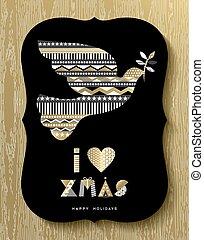 Gold Christmas Holiday design of modern dove bird