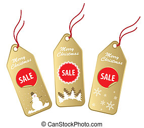 gold christmas labels