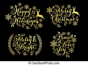 Gold Christmas ornaments for cards, vector set