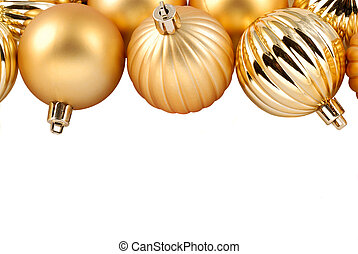 Gold Christmas Ornaments With Copy Space Suitable For An Invitation Or Christmas Card, Isolated Over White