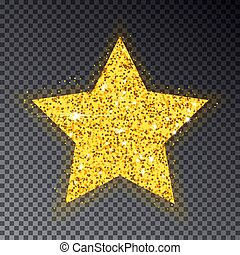 Gold Christmas star. Big golden star for fir tree. Sparkle with many little circle, with light effe