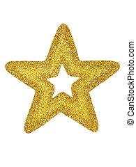 Gold Christmas star on white