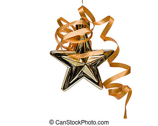 Gold Christmas Star with Ribbon