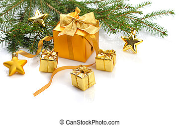 gold Christmas - gold gift boxes and stars on white...