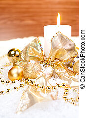 Gold Christmas  theme on snow with wood background