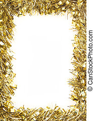 Gold Christmas tinsel garland, forming a rectangular border...