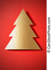 Gold Christmas tree and space for your own text