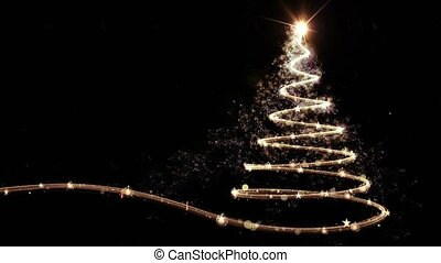 Gold Christmas tree animation with snow