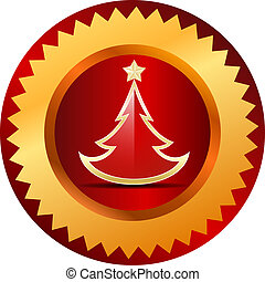 Gold christmas tree button. Vector